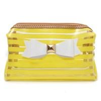 Stripe Transparent Cosmetic Bag Travel PVC Bow Tie Make Up ...