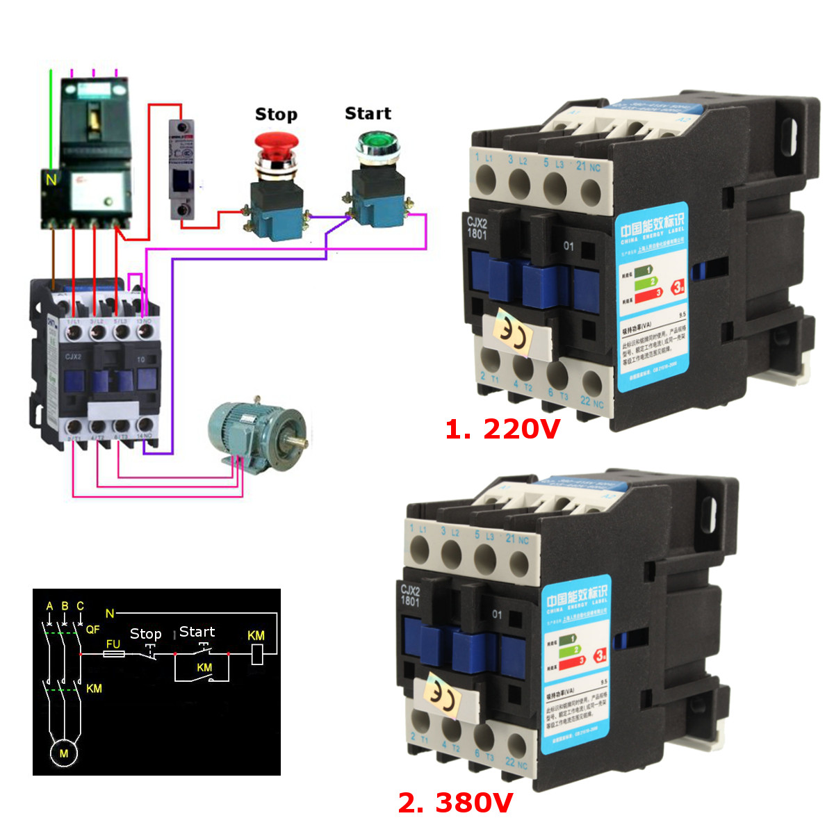Abb Soft Starter Wiring Diagram Cjx2 1801 Ac 220v 380v 18a Contactor Motor Starter Relay 3