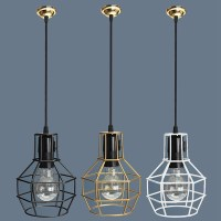 E27 Edison Vintage Pendant Metal Cage Ceiling Light Lamp ...