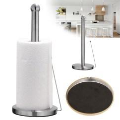 Kitchen Paper Towel Holder White Table Set Freestanding Hook Stainless Steel