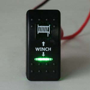 Winch In Winch Out Rocker Switch Dual LED Signal Light For Caravan UTE Marine Boat 7Pin
