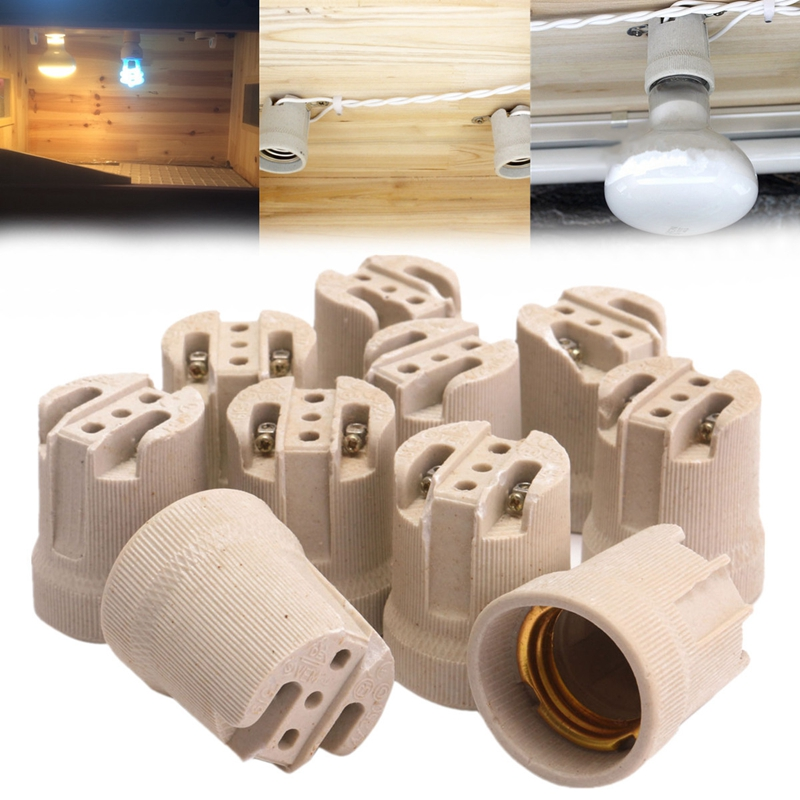 10x E27 Porcelain Ceramic Lampholder Socket For Vivarium