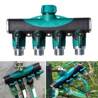 3/4 Inch Garden Hose 4 Way Splitter Water Pipe Faucet Shut ...