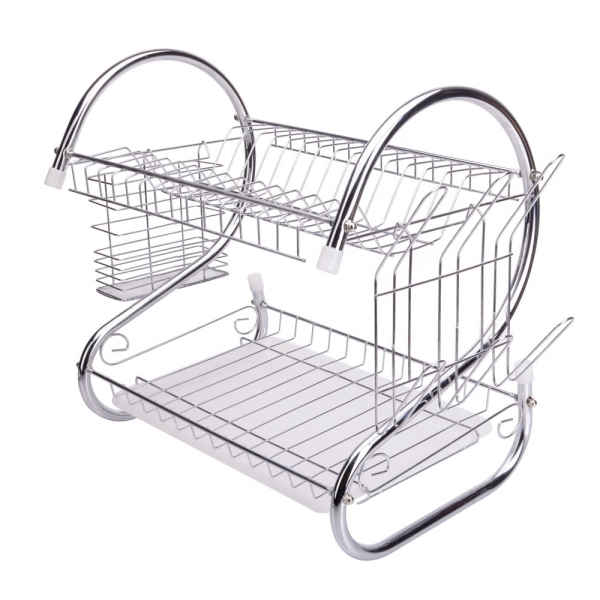 kitchen drying rack soup volunteer houston 2 tiers dish cup drainer dryer tray cultery