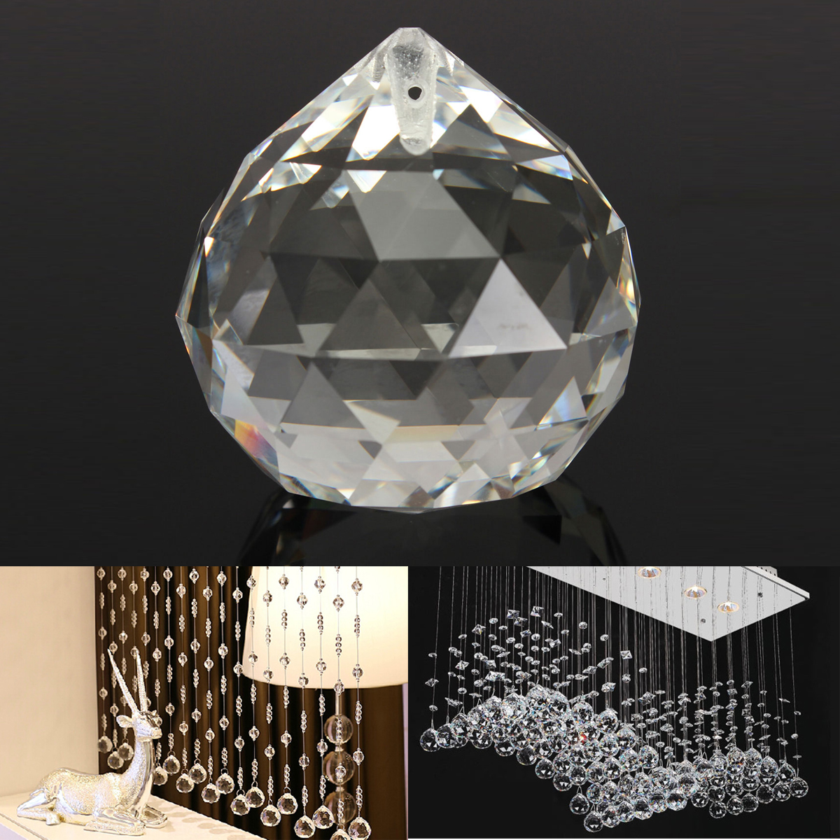 20MM Clear Crystal Ball Teardrop Faceted Chandelier