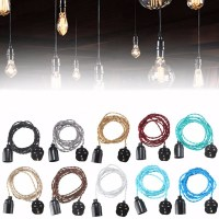 3M E27 Vintage Twisted Fabric Cable UK Plug In Pendant ...