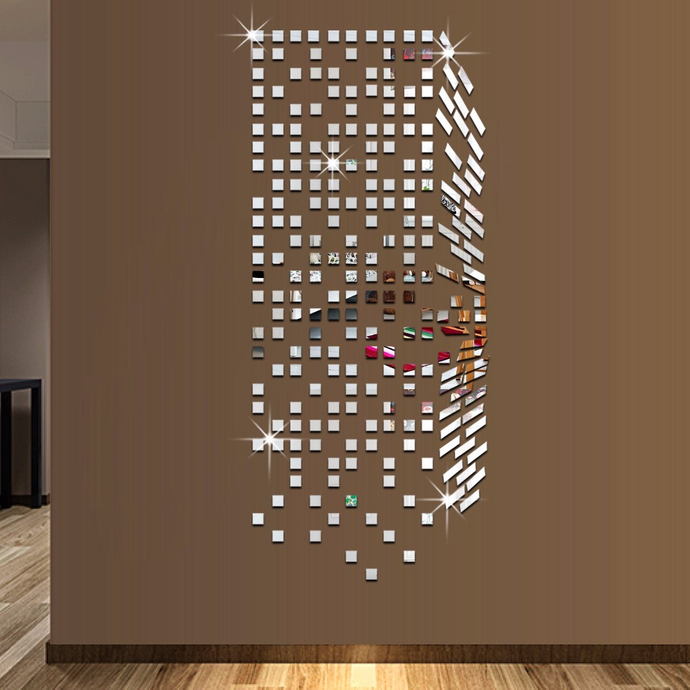 Mirror Mosaic Background Wall Stickers Home Decor DIY