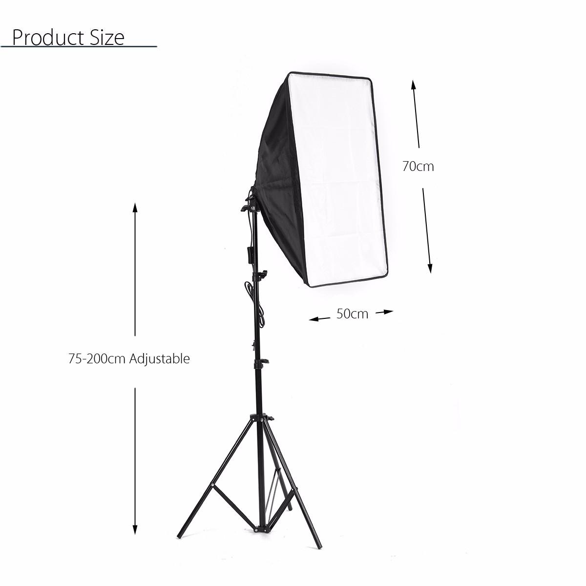 Photo Video Studio Lighting Kit 4 Socket E27 Lamp Holder Softbox Light Stands