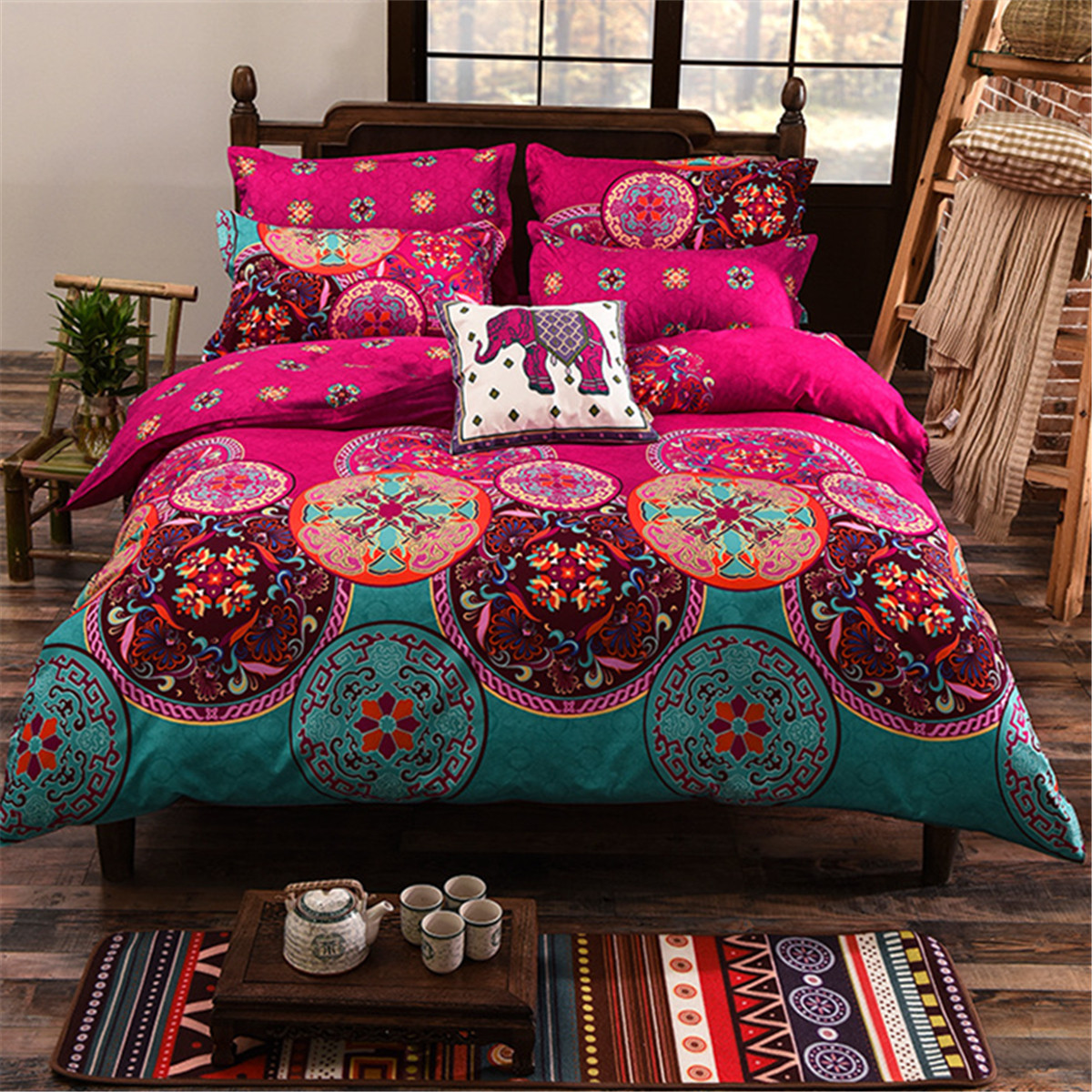 4Pcs Oriental Mandala Polyester Single Double Queen Size