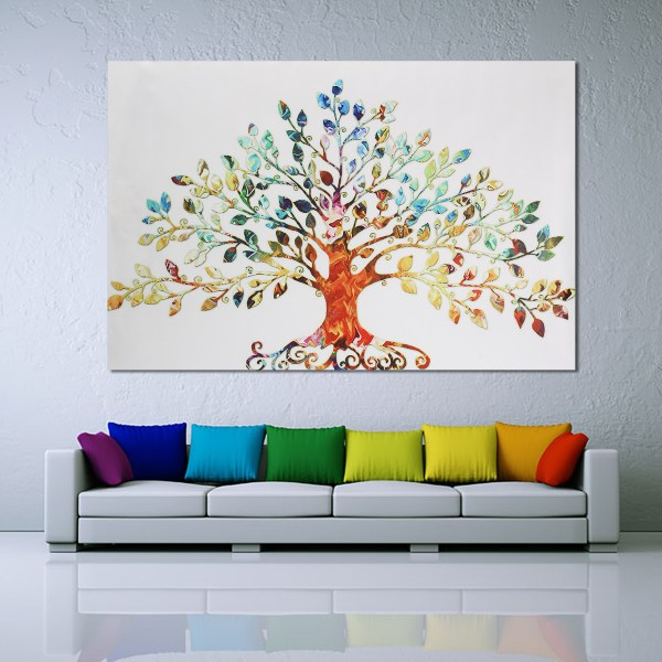 75x50cm Colorful Leafy Tree Unframed