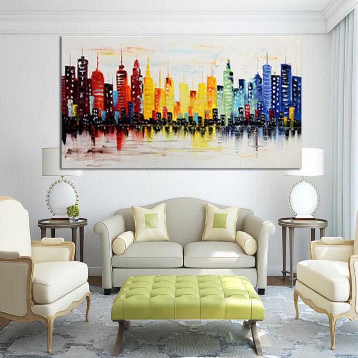 contemporary artwork living room yellow curtains modern paintings for 1 12 kaartenstemp nl 120x60cm city canvas abstract painting print art rh alexnld com