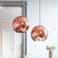 Nordic Globe Glass Copper Color Pendant Light Dinning Room ...