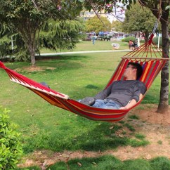Single Person Hammock Chair With Lumbar Support For Office Outdoor Rollover-resistant Canvas Portable Beach Swing Bed Wooden ...