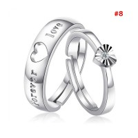 1 Pair 925 Silver Plated Heart Lovers Couple Promise Rings ...