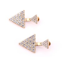 1 Pair Full Rhinestone Crystal Ear Stud Simple Triangle ...