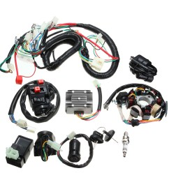 125cc 150cc 200cc 250cc quad electric cdi coil wire harness stator assembly wiring set [ 1200 x 1200 Pixel ]