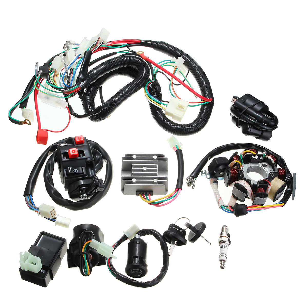 hight resolution of 125cc 150cc 200cc 250cc quad electric cdi coil wire harness stator assembly wiring set