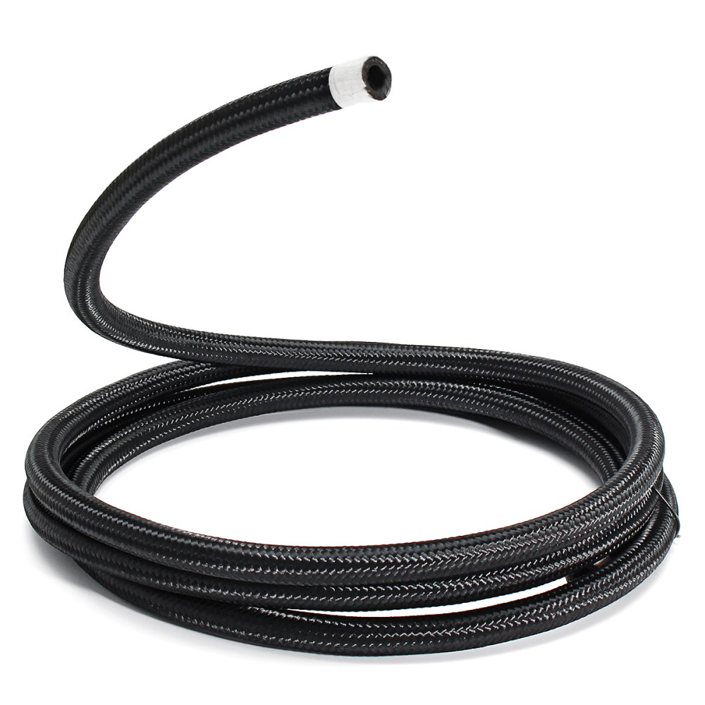 medium resolution of 3m long an6 6an nylon braided hose black stainless steel oil fuel line hose