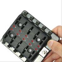 10 Way Blade Fuse Holder Box 32V LED Illuminated ...