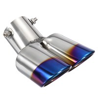 2.5 Inch Blue Car Burnt Dual Exhaust Pipes Polished ...