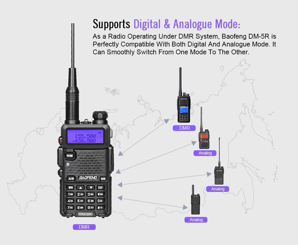 BAOFENG DM-5R Walkie Talkie DMR Digital Radio UV5R