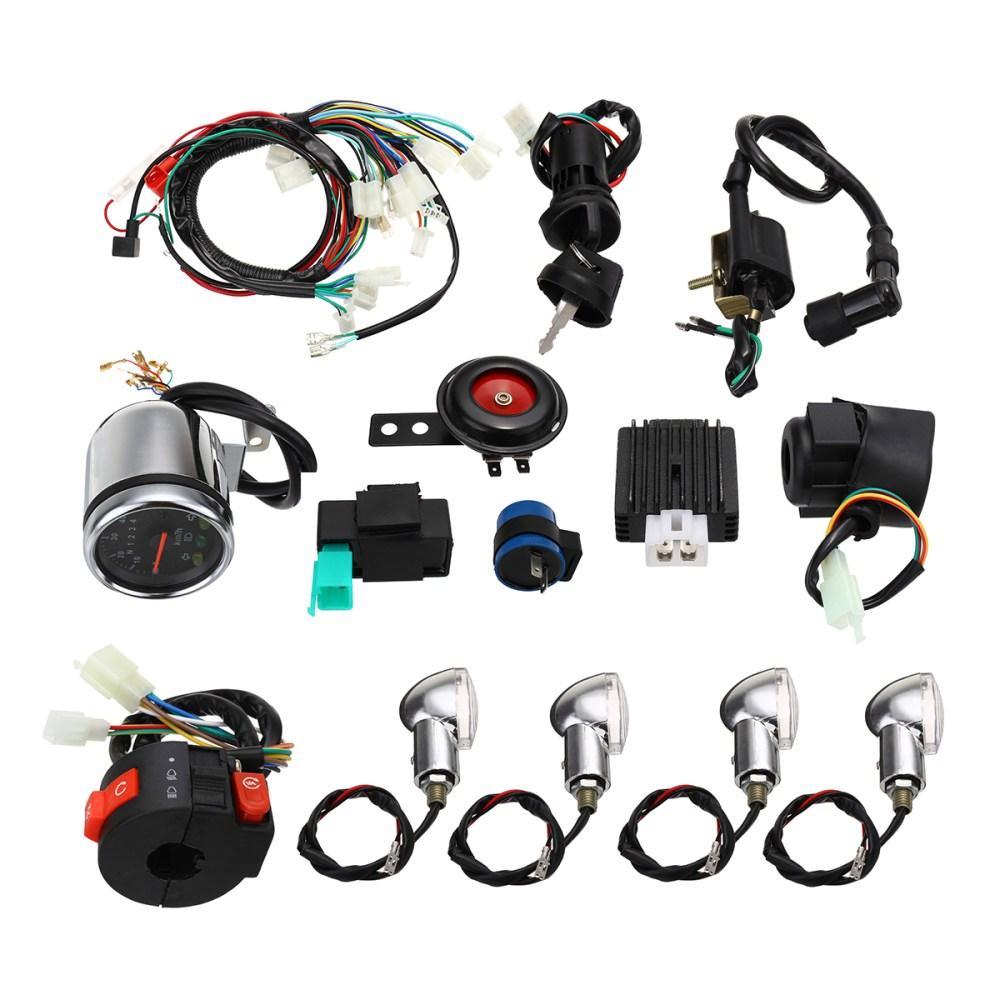 medium resolution of full electric start engine wiring harness loom for cdi 110cc 125cc quad bike atv
