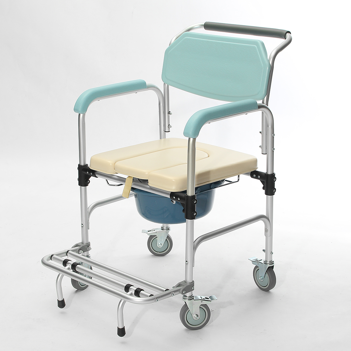 Folding Commode Chair 3 In 1 Commode Wheelchair Bedside Toilet And Shower Seat