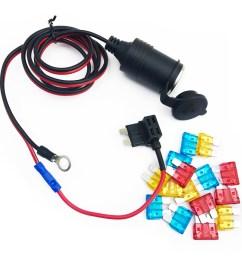 90cm 1mm core car cigarette cigar lighter dc12 24v extension fuse tap holder lead [ 1100 x 1100 Pixel ]