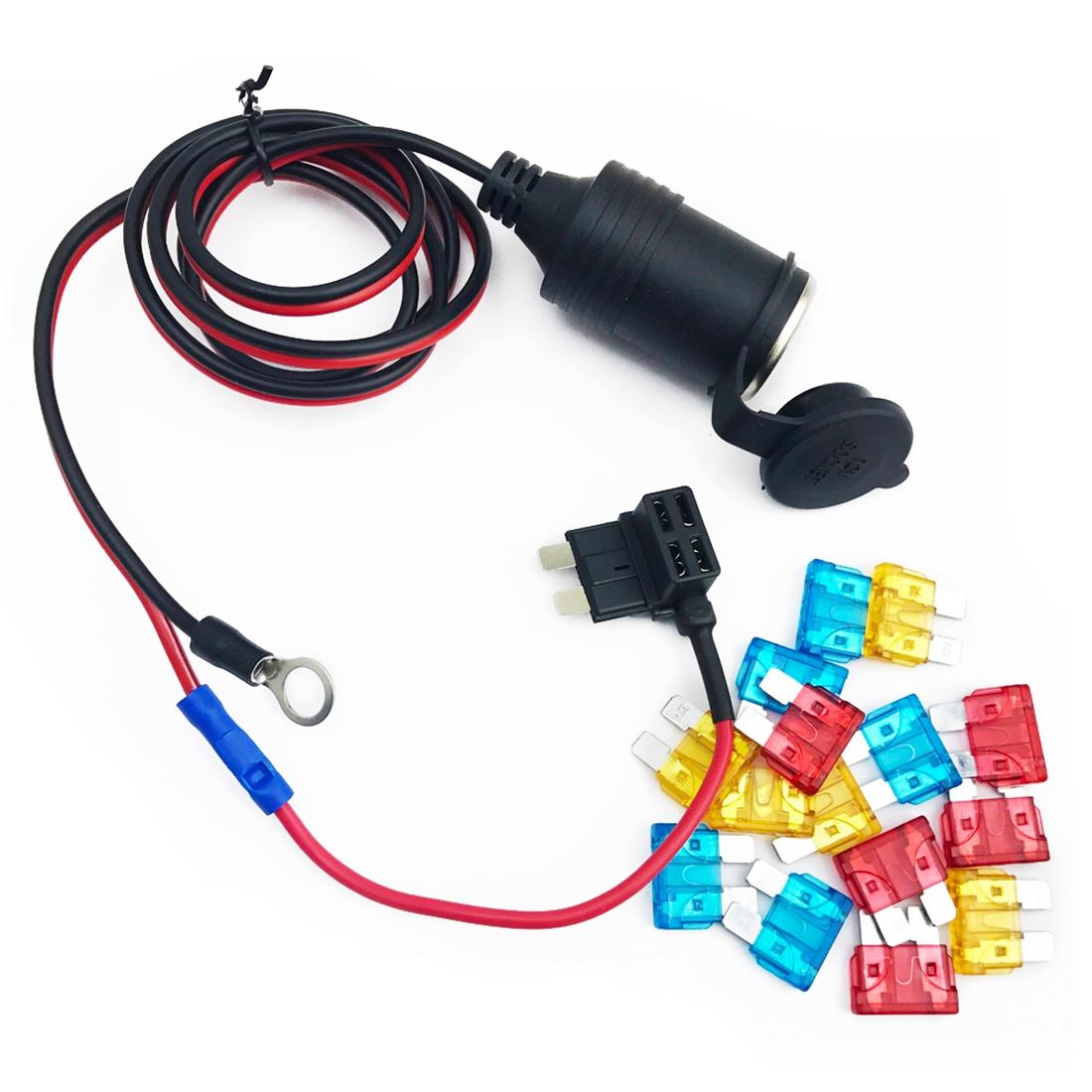 hight resolution of 90cm 1mm core car cigarette cigar lighter dc12 24v extension fuse tap holder lead