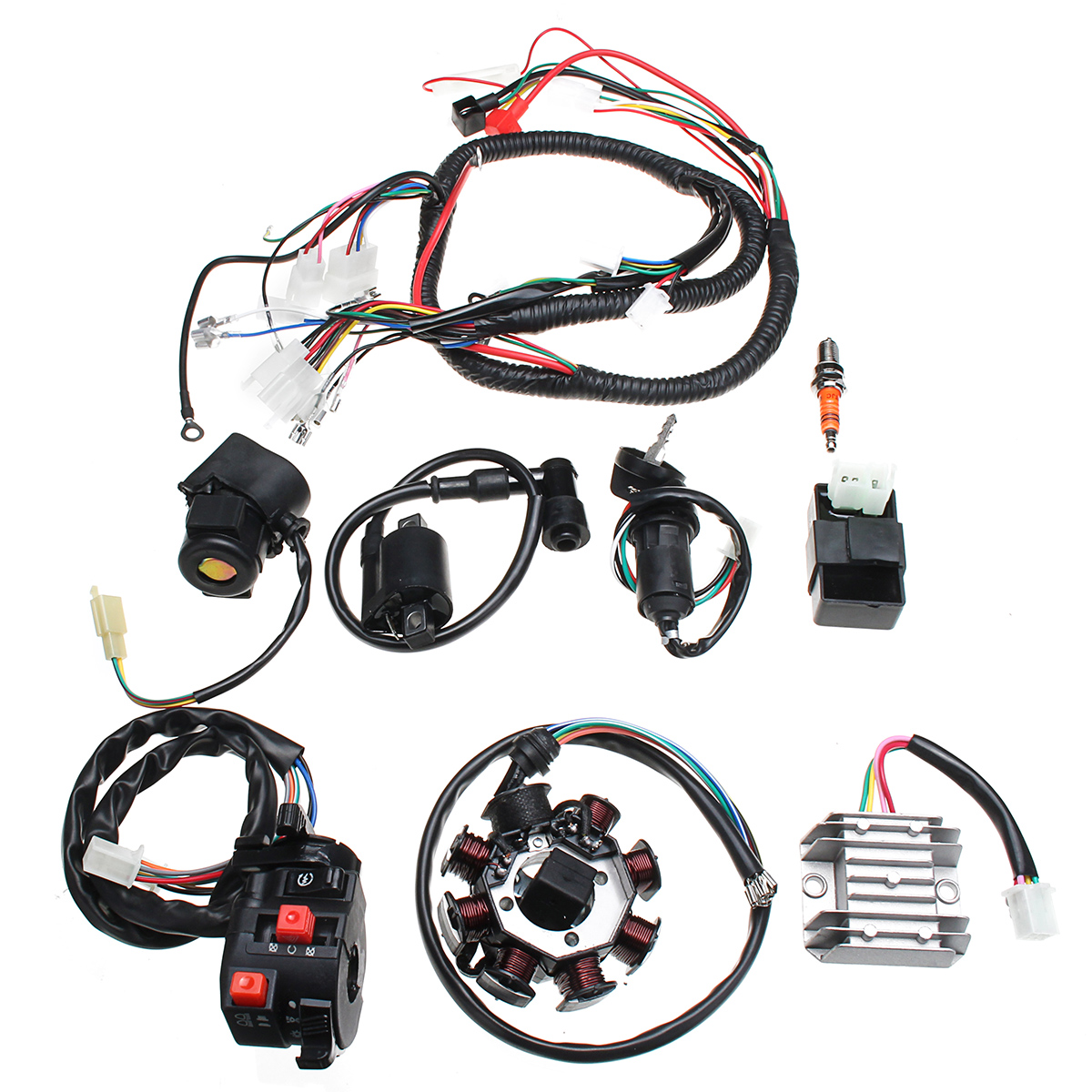 hight resolution of electric wiring harness wire loom cdi motor stator full set for atv quad 150 200