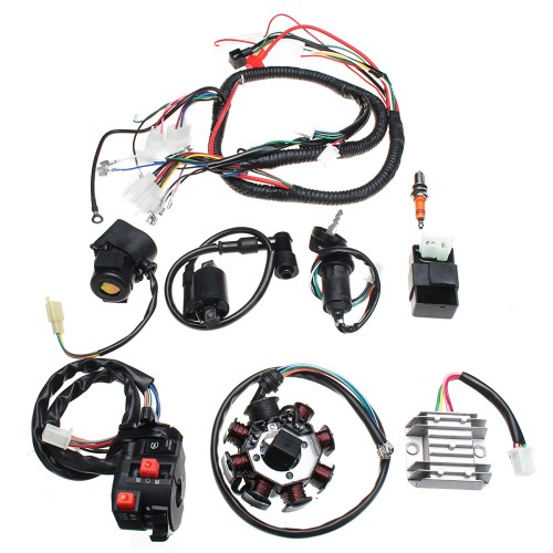 small resolution of electric wiring harness wire loom cdi motor stator full set for atv quad 150 200
