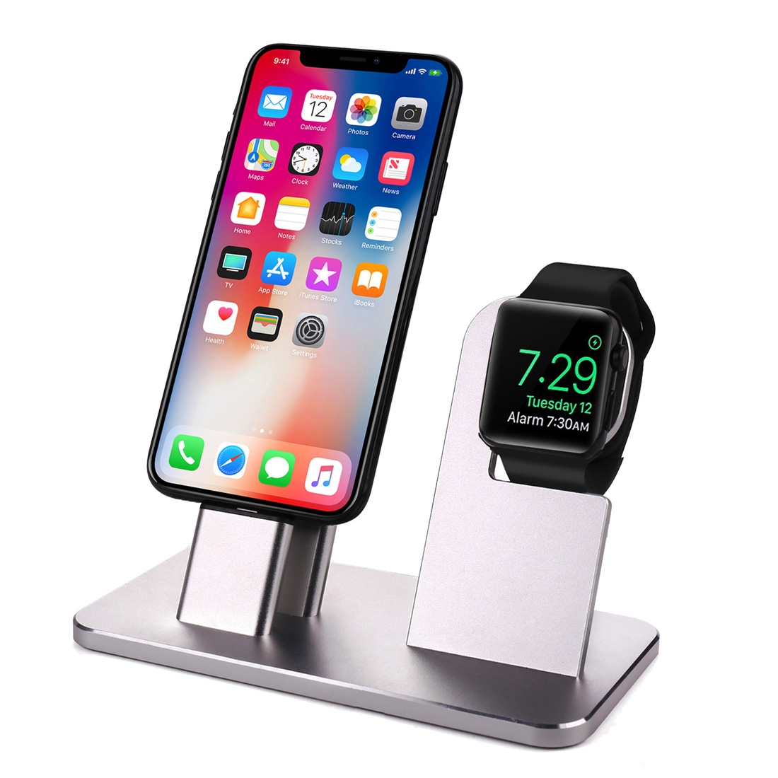 2 In 1 Aluminum Alloy Charging Dock Stand Holder Station. For Apple Watch Series 3 / 2 / 1 / 42mm / 38mm. iPhone X / 8 / 8 Plus / 7 / 7 Plus / 6s ...