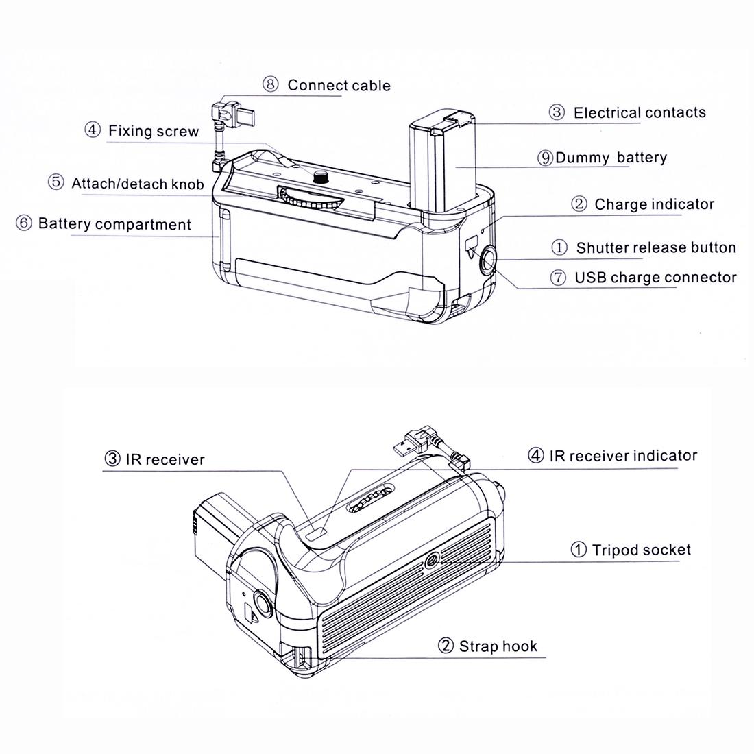 PULUZ Vertical Camera Battery Grip for Sony A6300 Digital