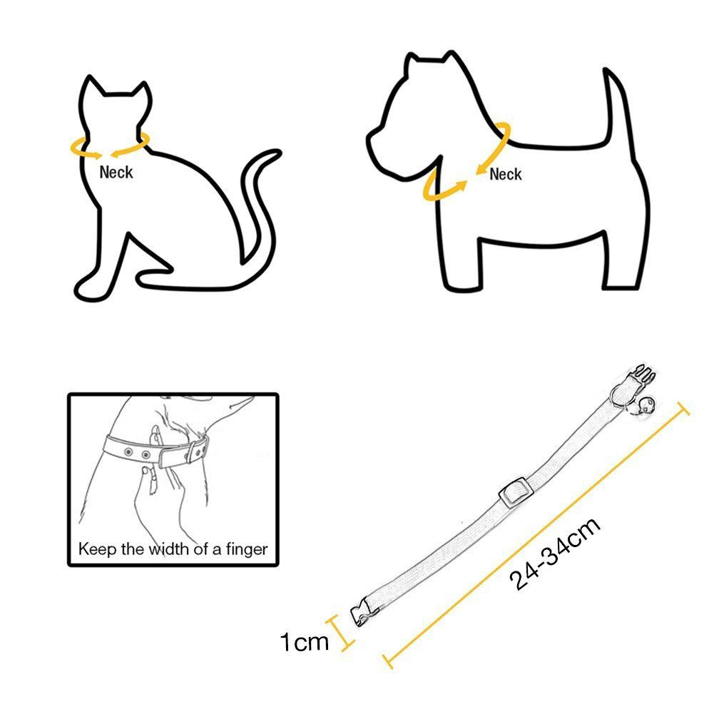 Rainbow Adjustable Cat Collars with Bell, Quick Release