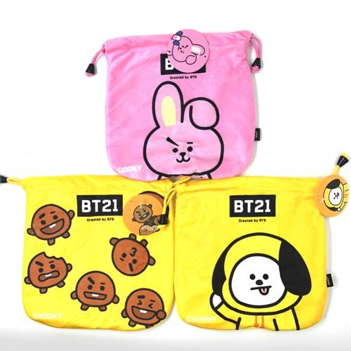 KPOP BTS Bangtan Boys Cartoon BT21 Pattern Plush Storage Drawstring Bag Coin Pocket | Alexnld.com
