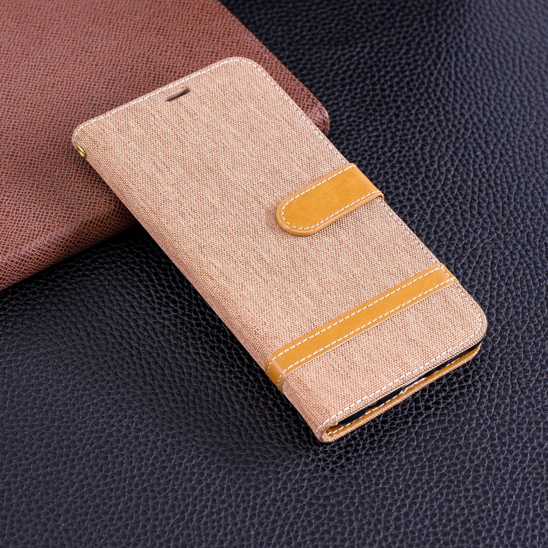 Color Matching Denim Texture Leather Case For Huawei Y9