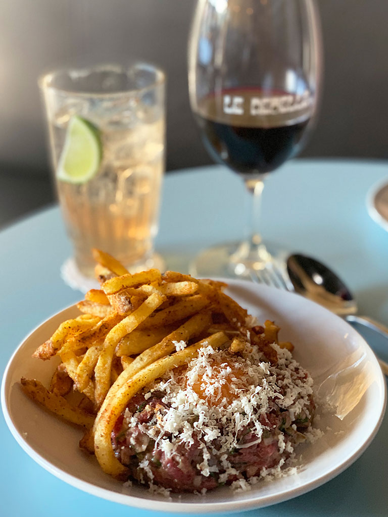 Steak tartare served with French fries