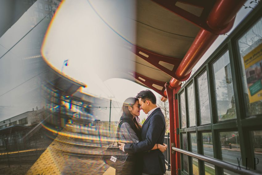 Boston T stop engagement portrait