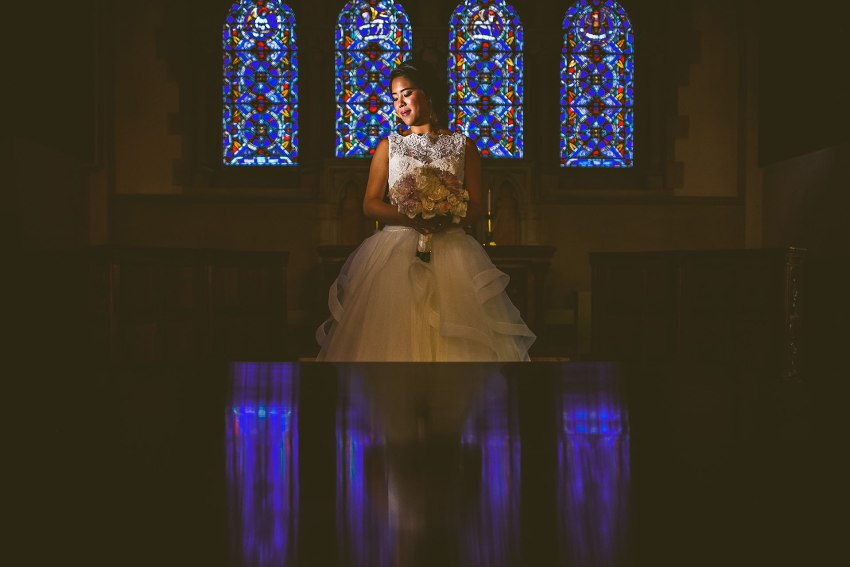dramatic composite bridal portrait in Old South Church