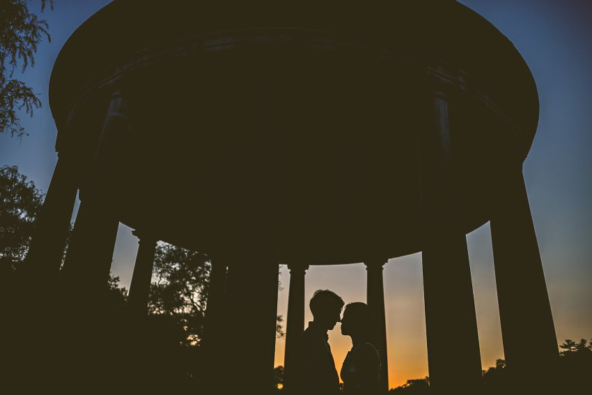 sunset silhouette portrait after rehearsal dinner
