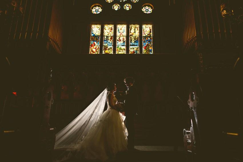 backlit wedding portrait in Boston Old South Church