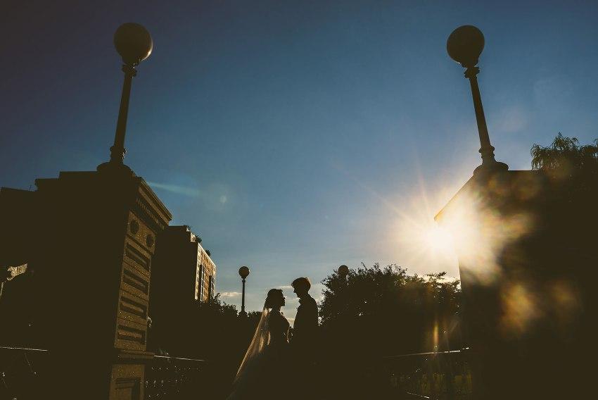 Boston Public Garden wedding silhouette with sun flare