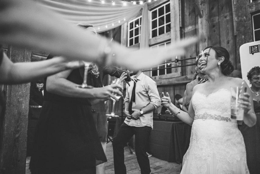 wedding bride dancing with friends