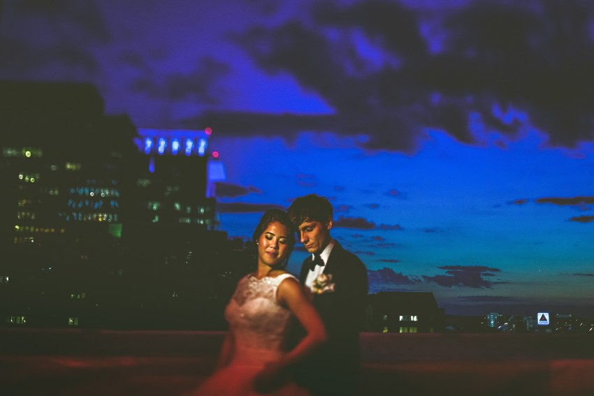 creative nighttime Boston wedding photo