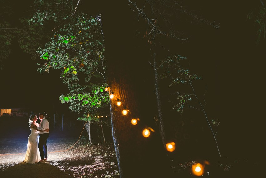 backlit nighttime wedding portraits