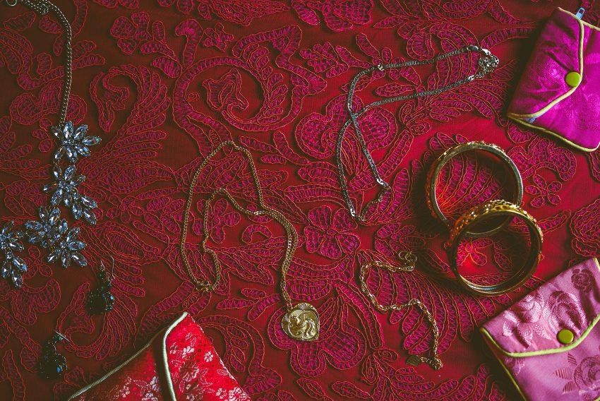 bridal jewelry on Chinese dress lace pattern
