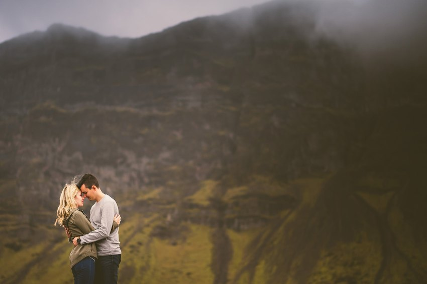 misty engagement portrait in Iceland