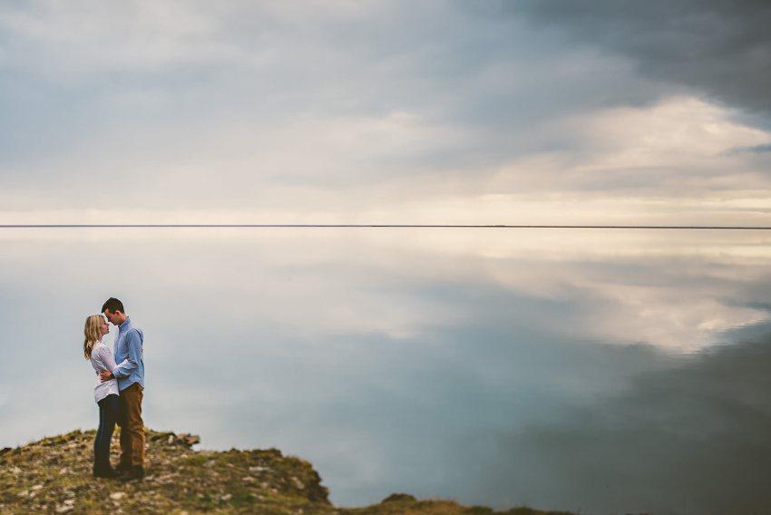 engagement portrait with landscape reflections