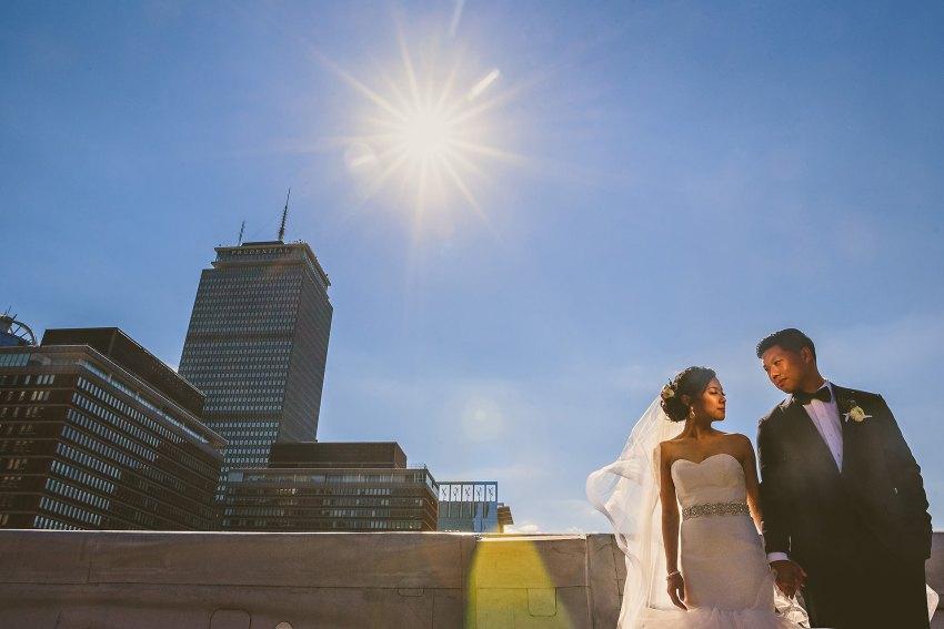 Lenox hotel midday rooftop wedding portrait
