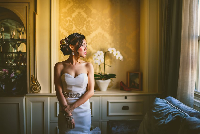 bridal portrait at Lenox by window